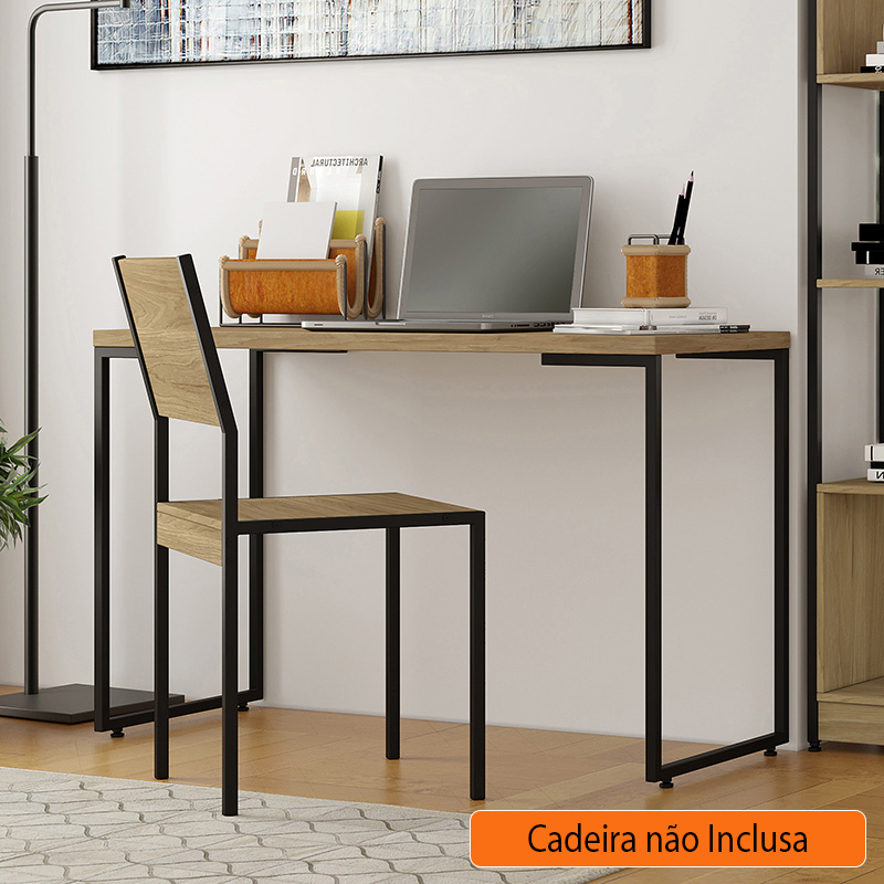 Escrivaninha Industrial 90 cm Define Itapuã E Preto