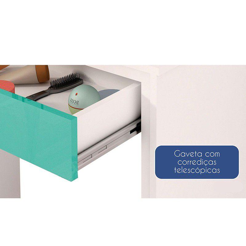 Escrivaninha Twister 01 gaveta - Neve/Aqua