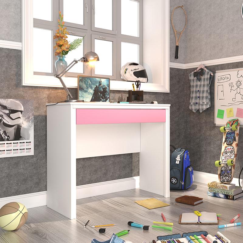 Escrivaninha Twister 01 gaveta - Neve/Quartzo Rosa