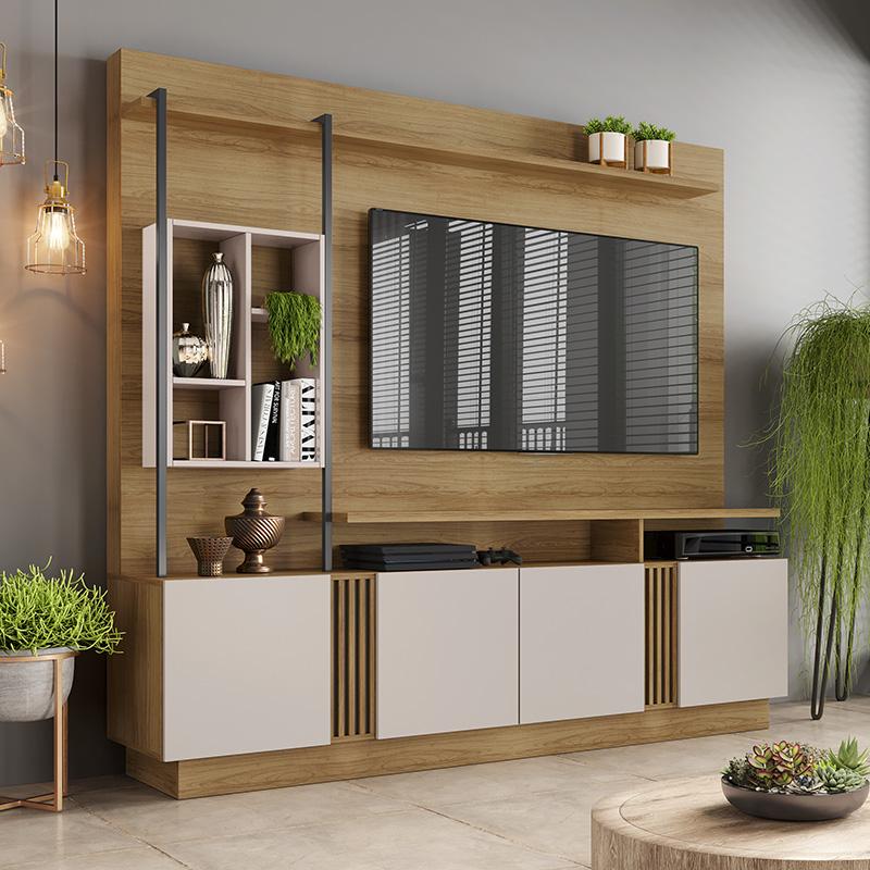 Estante Home Industrial para TV até 65 Polegadas 04 Portas Fortuna JCM