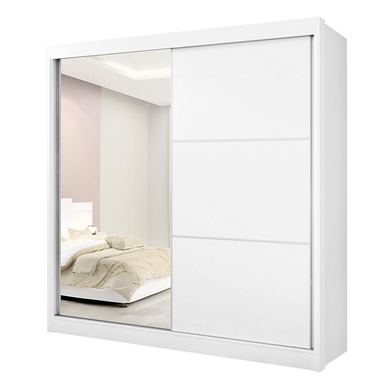 Guarda Roupa 02 Portas De Correr 01 Espelho 06 Gavetas Titanium D'doro