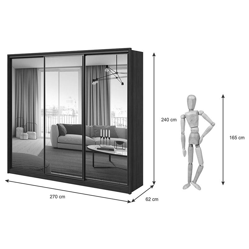 Guarda roupa Casal 03 Portas com Espelhos 06 Gavetas Spazio Glass Lopas