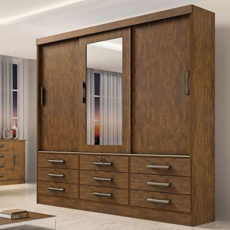 Guarda Roupa Casal 03 Portas De Correr Com Espelho Meridian Plus D' Doro