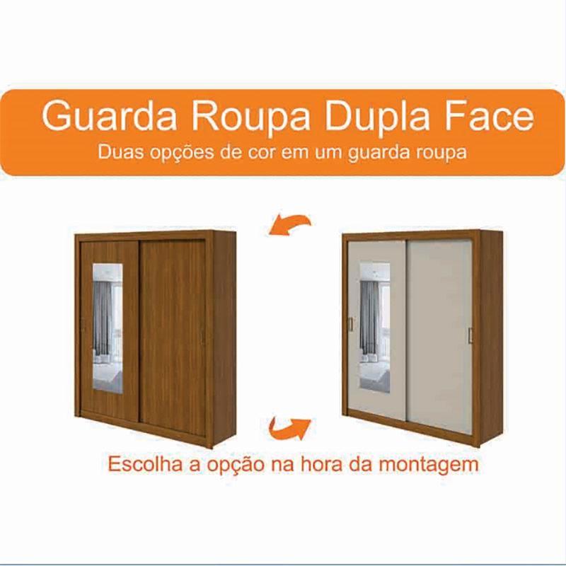Guarda Roupa Casal Com Espelho 02 Portas De Correr Apoena Plus Lopas