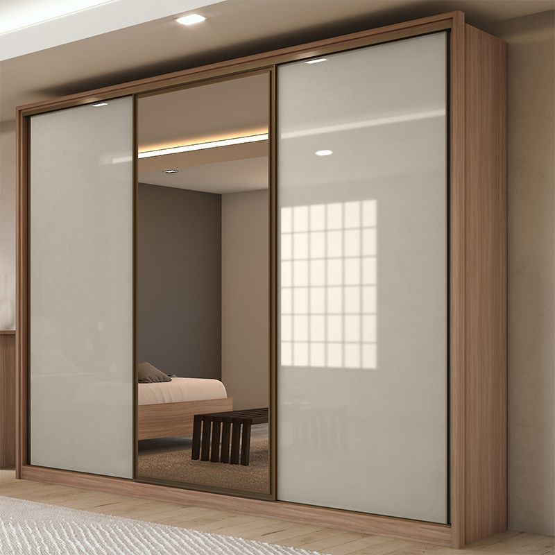 Guarda Roupa Casal com espelho 03 portas 06 gavetas Spazio Glass Lopas