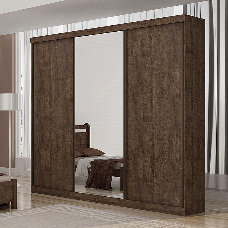 Guarda Roupa Casal Com Espelho 03 Portas De Correr Petrópolis