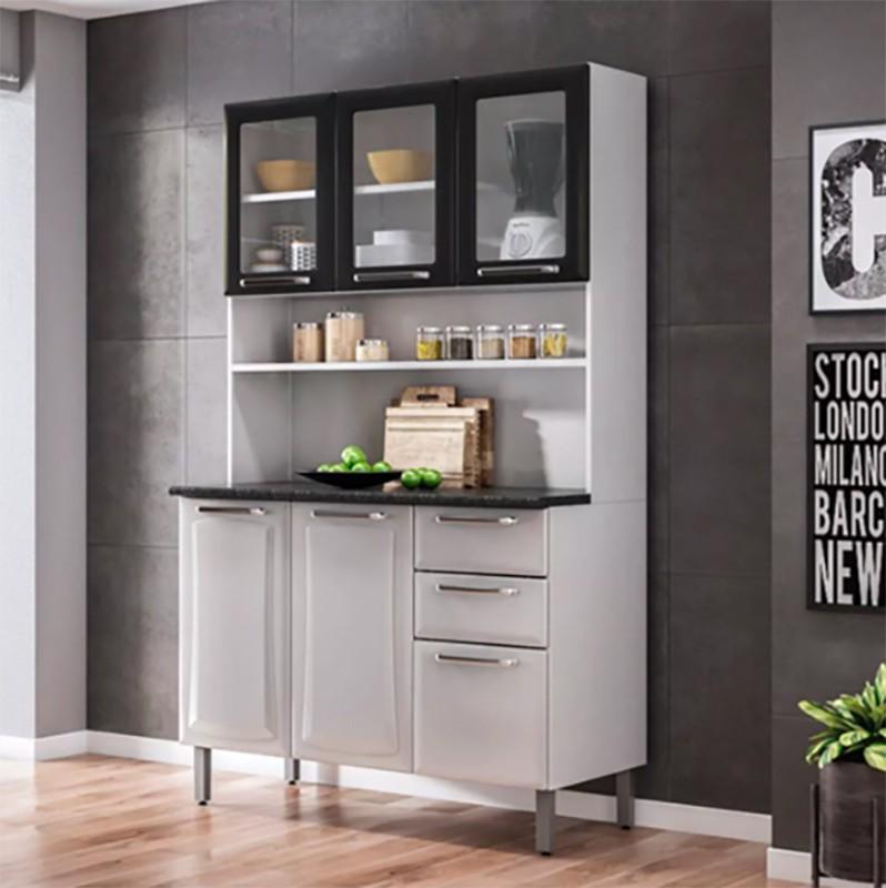 Kit Cozinha Regina 06 Portas e Armário com Vidro Itatiaia 120cm