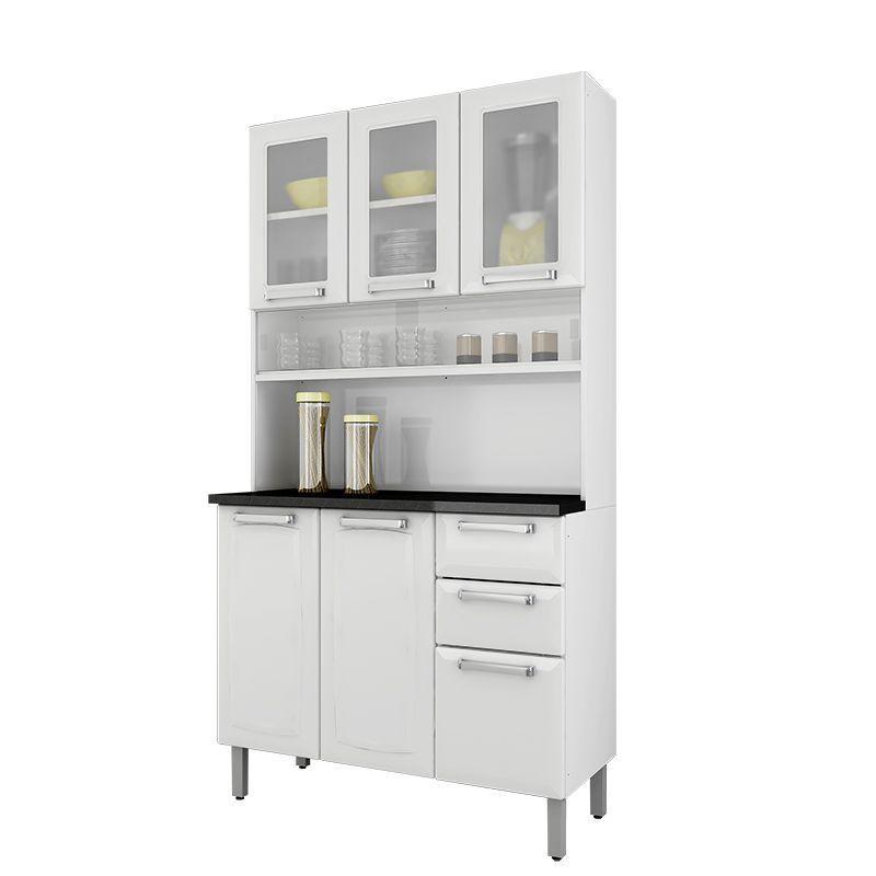 Kit Cozinha Regina 06 Portas e Armário com Vidro Itatiaia