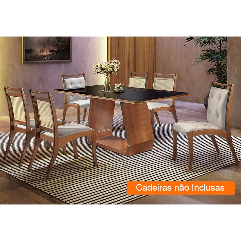 Mesa Cenarium 180 cm Tauari Castanho Premium com Tampo Canto Copo Vidro Preto