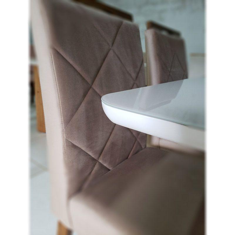 Mesa Milano 120 x 90 cm Imbuia Mel  com Tampo Vidro com acabamento em Laca Canto Copo