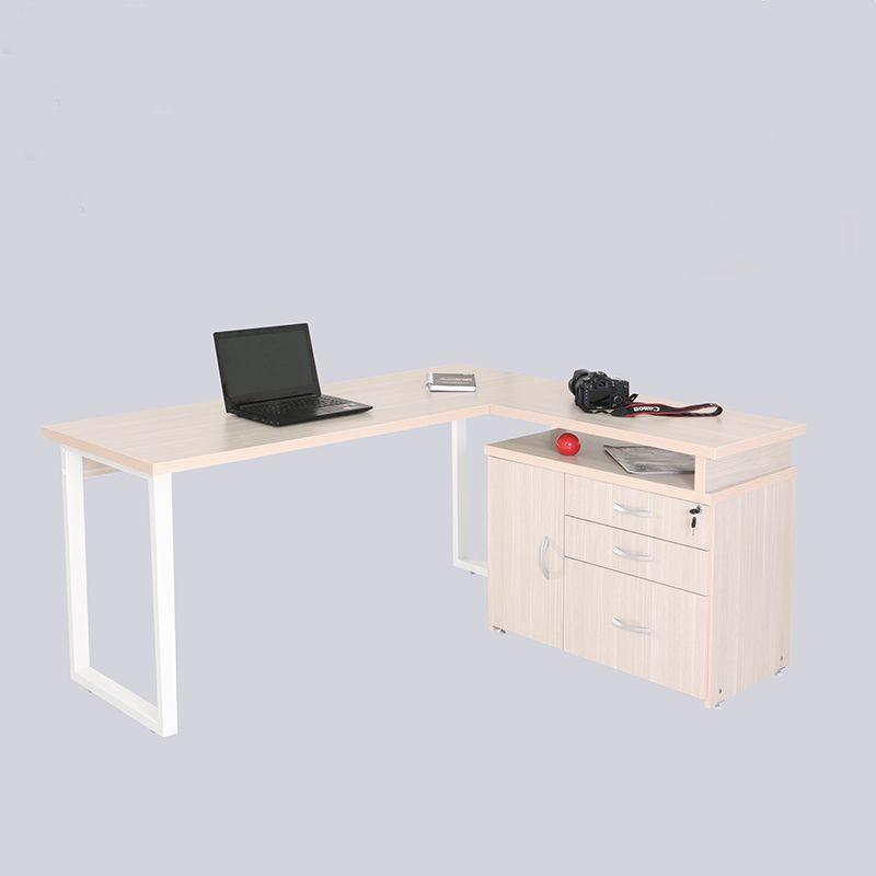 Mesa para escritório em L 160 x 140 cm 02 gavetas Pasta suspensa e porta com Pés em aço Safira
