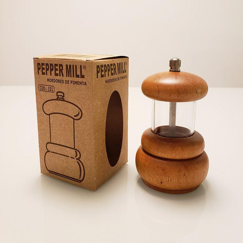 Moedor de Pimenta Profissional em Acrílico e Madeira PepperMill 151