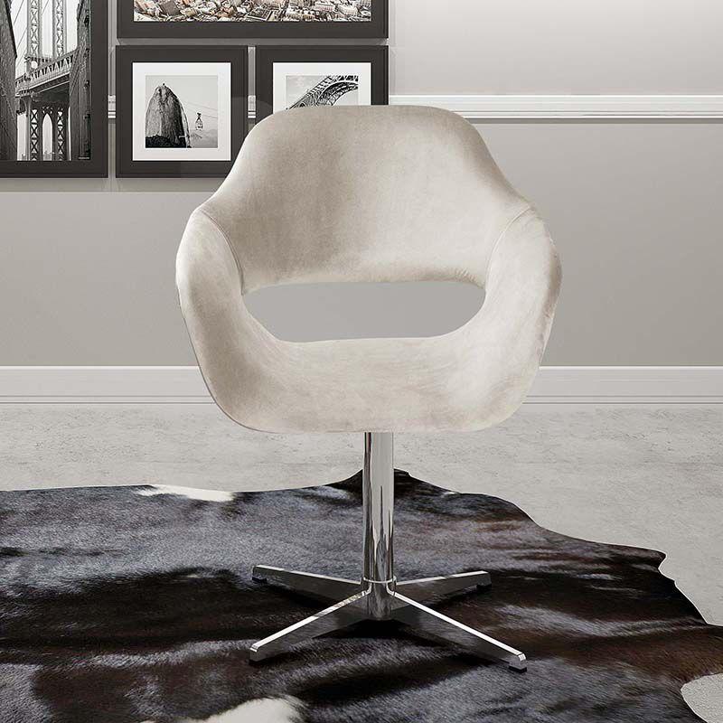 Poltrona Decorativa Zara com Pé Giratório Alumínio Bella Decor