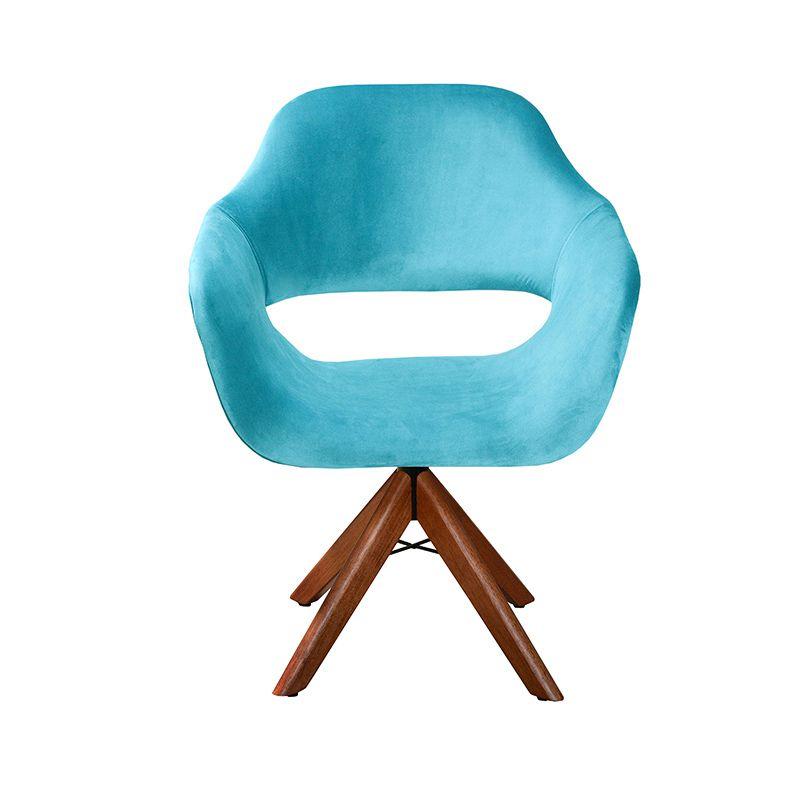 Poltrona Decorativa Zara com pé giratório de madeira Bella Decor