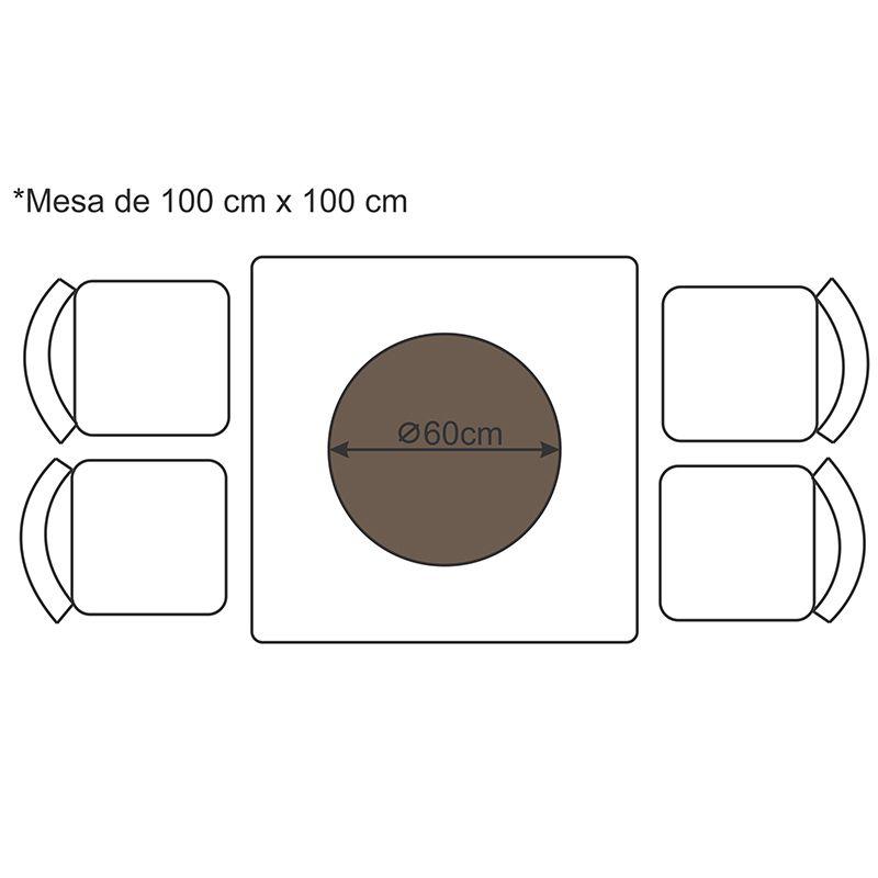 Prato Giratório de Mesa com Lâmina de Madeira Preto 60 cm