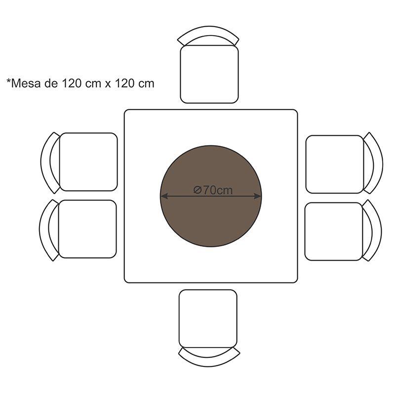 Prato Giratório de Mesa com Lâmina de Madeira Preto 70 cm