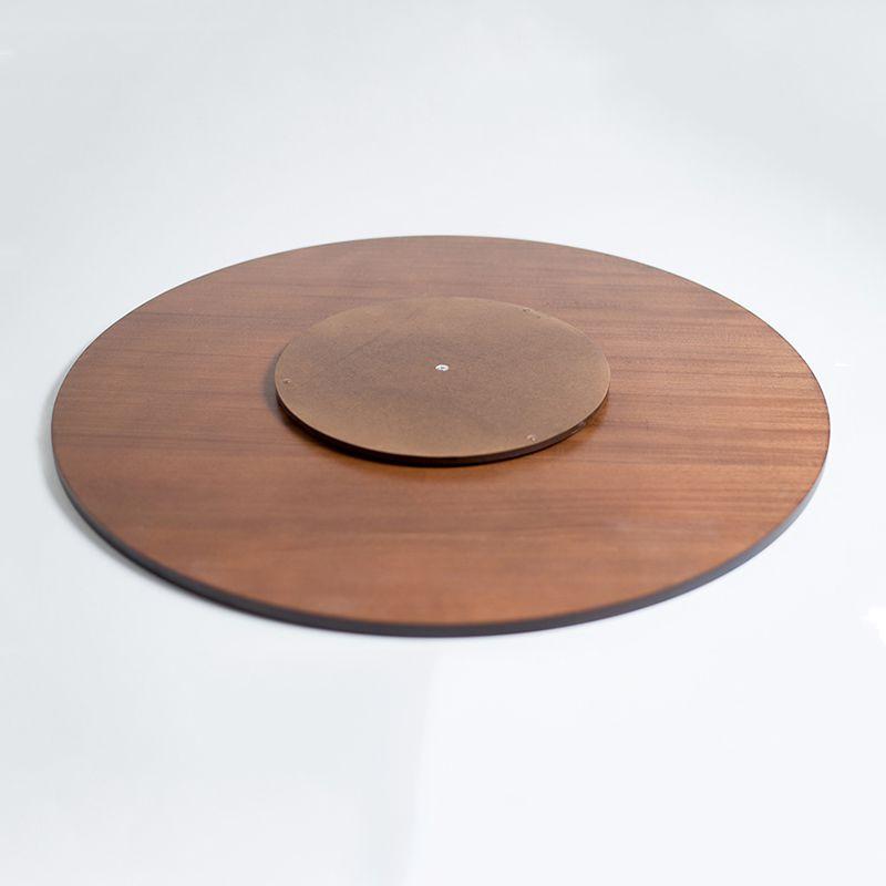 Prato Giratório de Mesa com Lâmina de Madeira Castanho