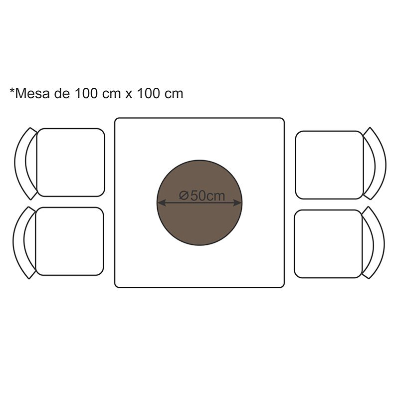 Prato Giratório de Mesa com Lâmina de Madeira Preto 50 cm