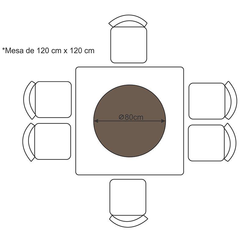 Prato Giratório de Mesa com Lâmina de Madeira Preto 80 cm
