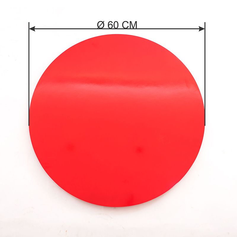 Prato Giratório de Mesa com Lâmina de Madeira Vermelho 60 cm