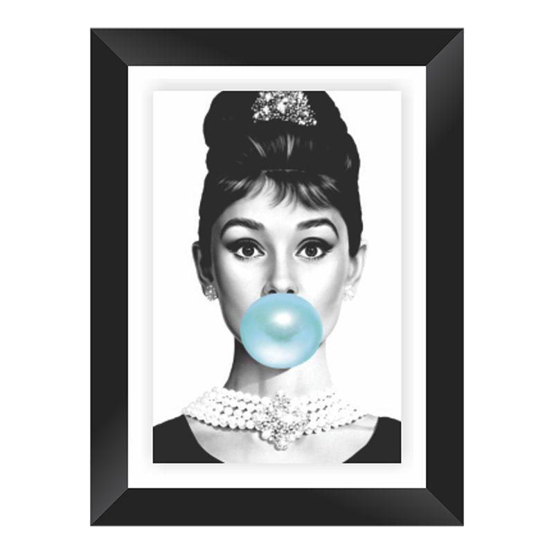 Quadro Decorativo com Moldura em Madeira Maciça e Vidro Audrey Hepburn A001