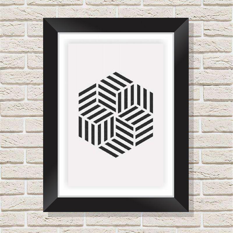 Quadro Decorativo com Moldura em Madeira Maciça e Vidro Geométrico Cubos AB018
