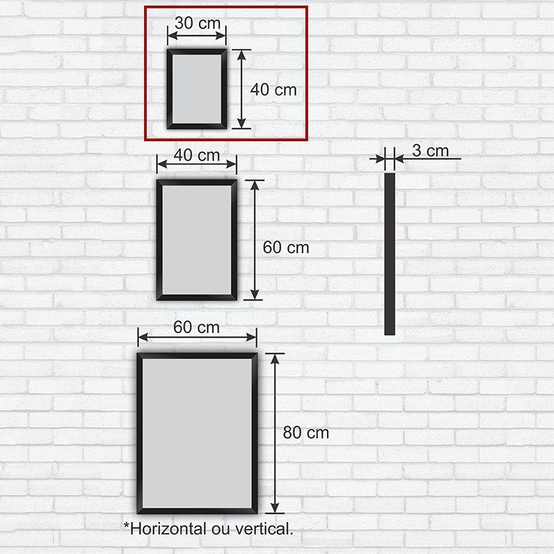 Quadro Decorativo com Moldura em Madeira Maciça e Vidro Geométrico Hexágono AB016