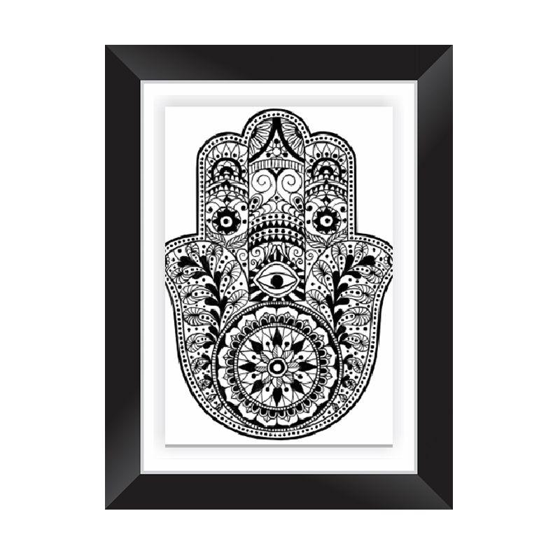Quadro Decorativo com Moldura em Madeira Maciça e Vidro Hamsá M007