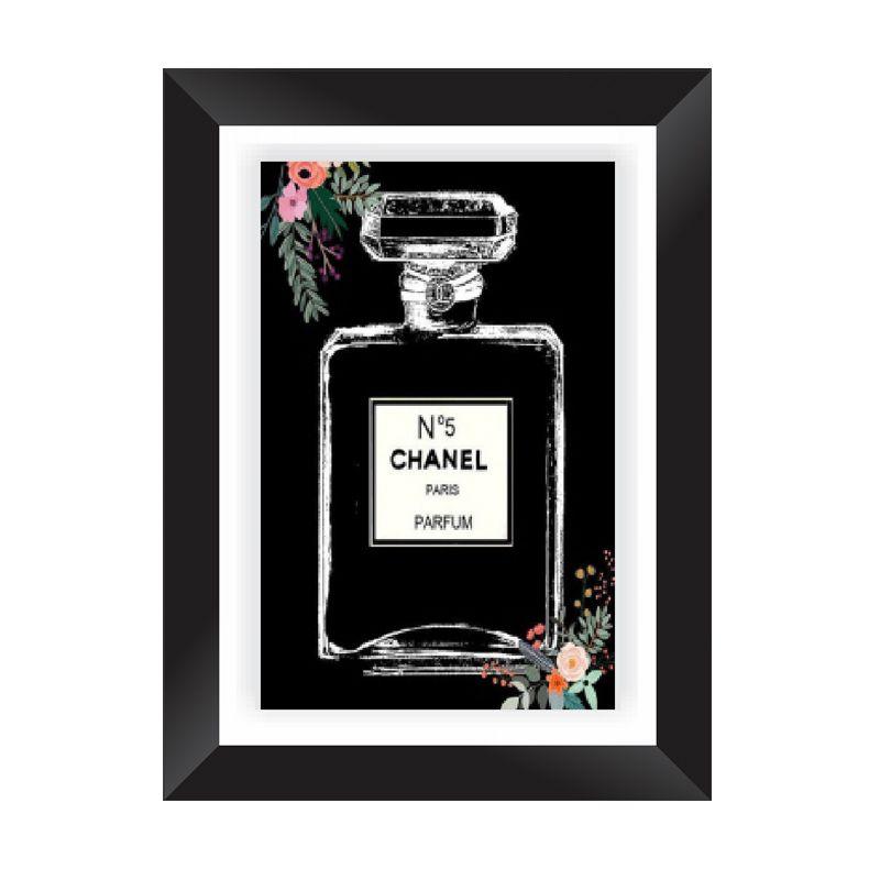 Quadro Decorativo com Moldura em Madeira Maciça e Vidro Perfume Chanel A006