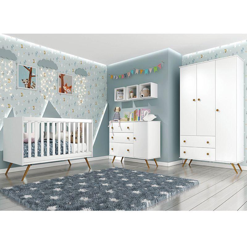 Quarto de Bebê Twister 03 Portas Pés Palito Tcil 6 peças