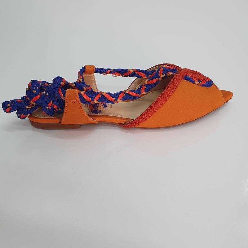 Rasteira Flat Bico Folha Nobuk Laranja com amarração Colorida Ferrucci
