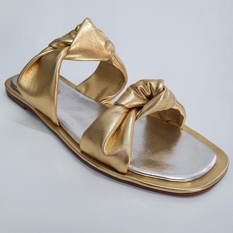 Rasteira Flat Nó Ferrucci Metalizado Ouro