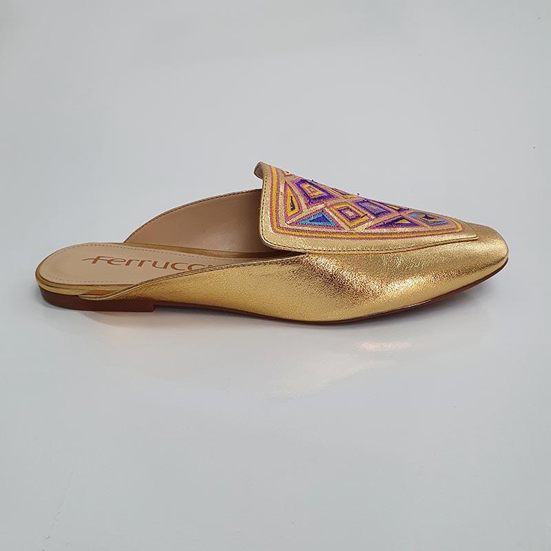 Rasteira Mule Frente Quadrada Metalizado Ouro Borado Colorido Ferrucci