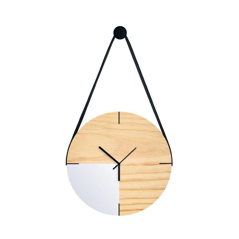 Relógio De Parede Minimalista Adnet Com Alça E Pendurador - 1/4 Branco