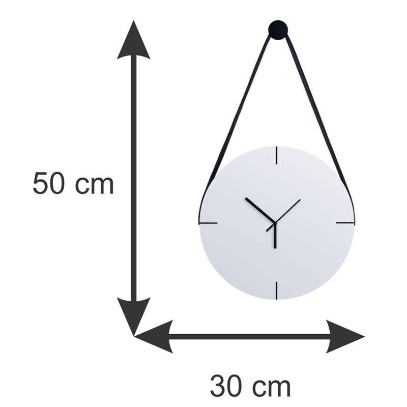Relógio De Parede Minimalista Adnet Com Alça E Pendurador - Branco