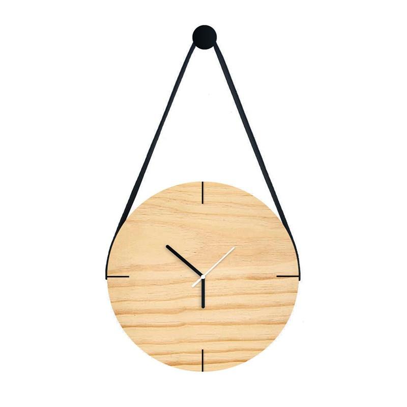 Relógio De Parede Minimalista Adnet Com Alça E Pendurador - Pinus Cru