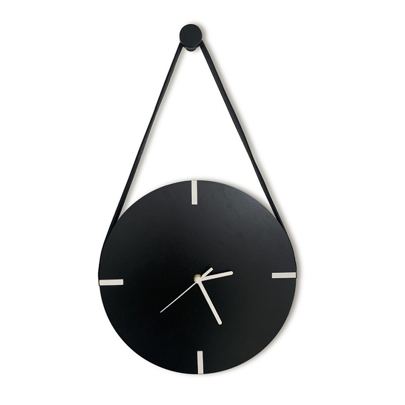 Relógio De Parede Minimalista Adnet Com Alça E Pendurador - Preto