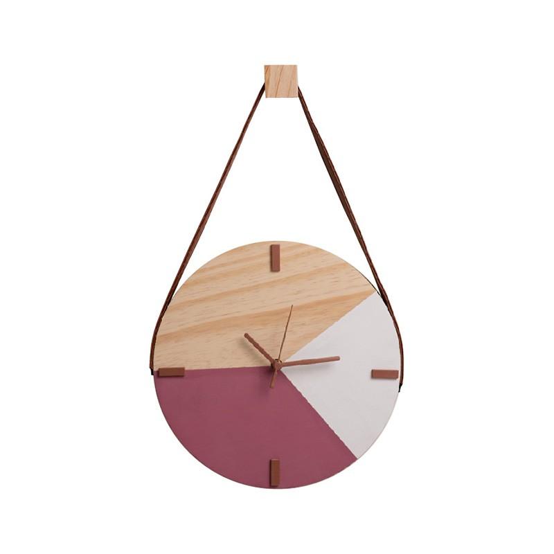 Relógio De Parede Minimalista Adnet Com Alça E Pendurador - Rosa