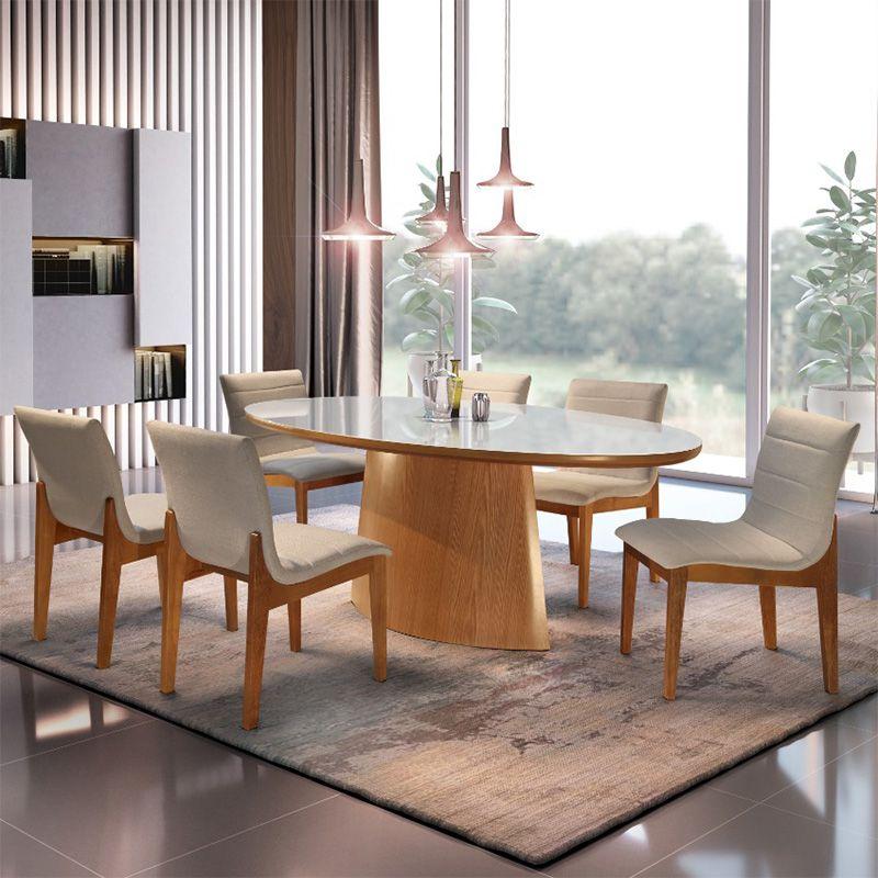 Sala De Jantar Arezzo Mesa 180 cm 06 Cadeiras