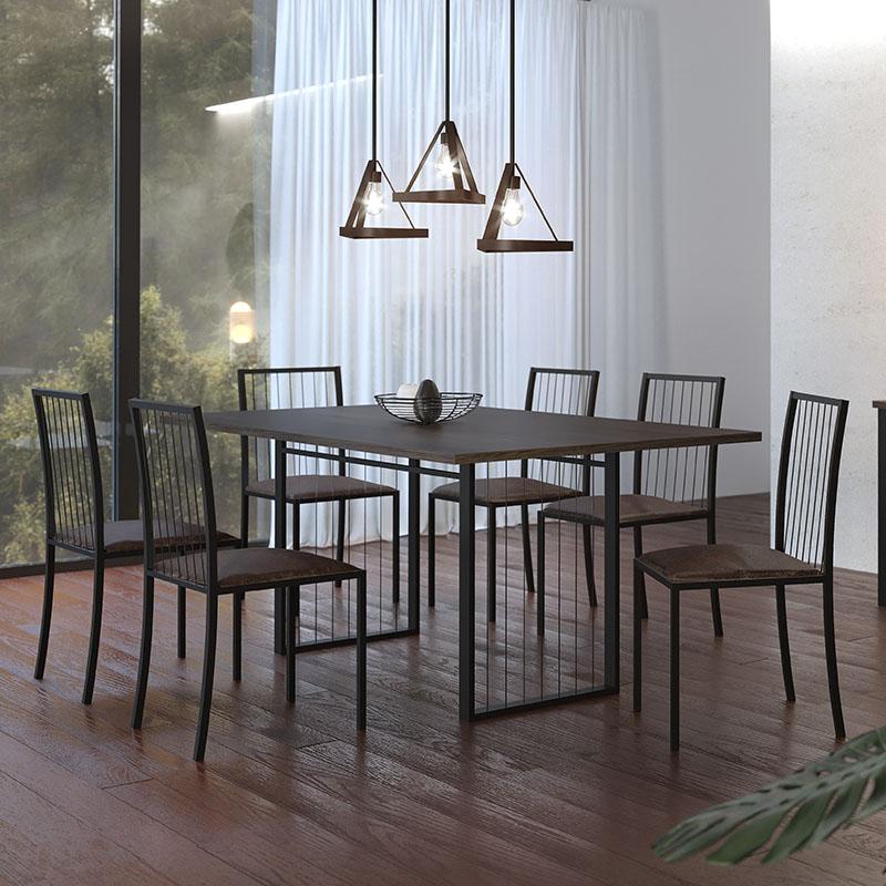 Sala De Jantar Atos Preto 180 Cm Com 06 Cadeiras Mais Decor