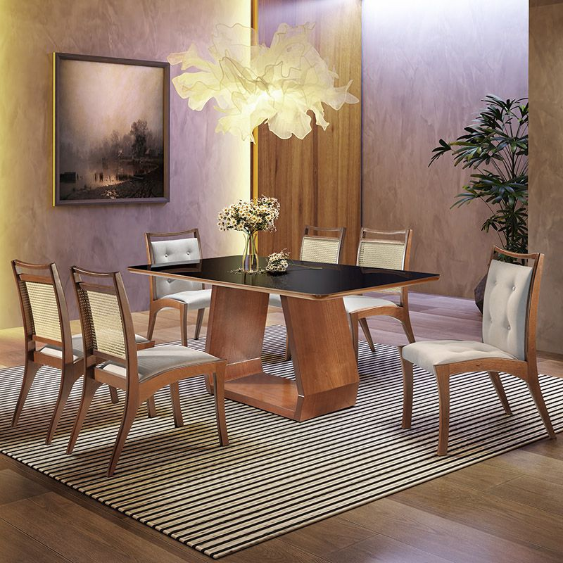 Sala de Jantar Cenarium Mesa 180 cm 06 Cadeiras