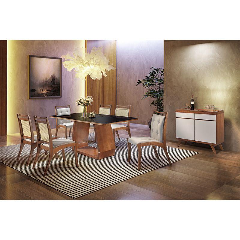Sala De Jantar Cenarium Mesa 180 Cm 06 Cadeiras Com Buffet