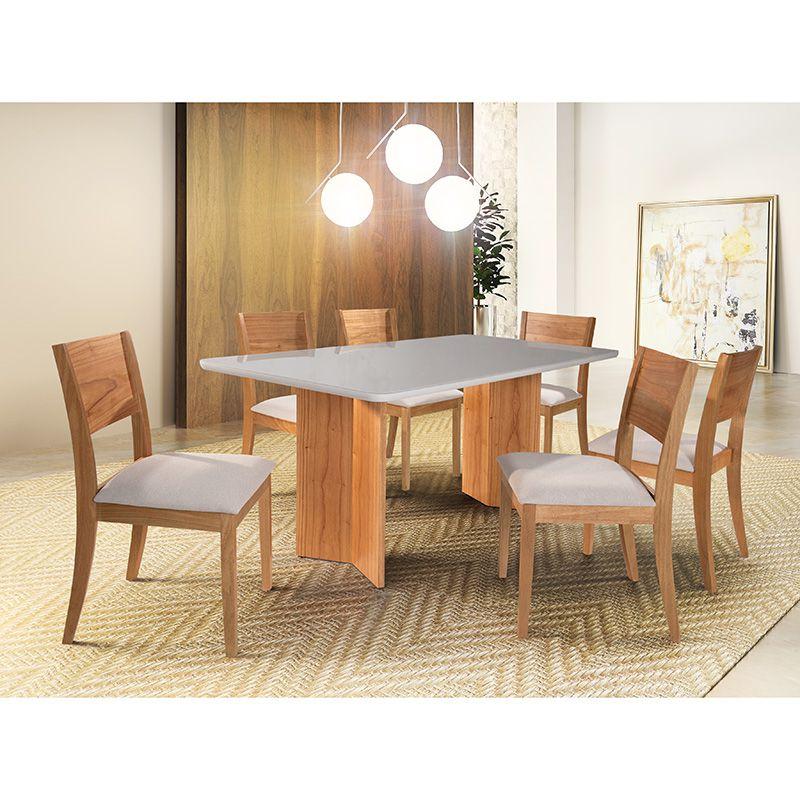 Sala de Jantar Ouro Branco Mesa 180 cm 06 Cadeiras Diamantina