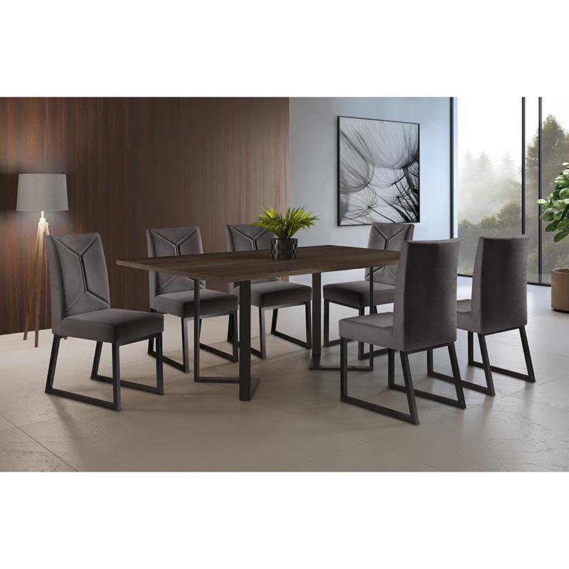 Sala De Jantar Roma Café 180 cm Com 06 Cadeiras Itália Mais Decor