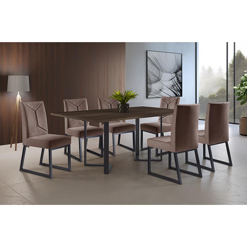 Sala De Jantar Roma Grafite 180 cm Com 06 Cadeiras Itália Mais Decor