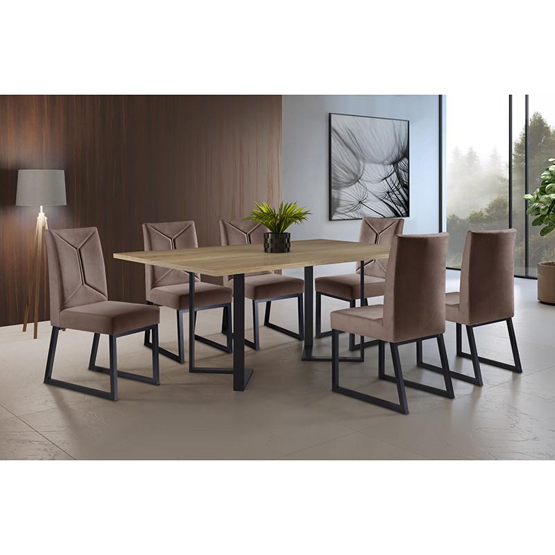 Sala De Jantar Roma Preto 180 cm com 06 Cadeiras Itália Mais Acessórios