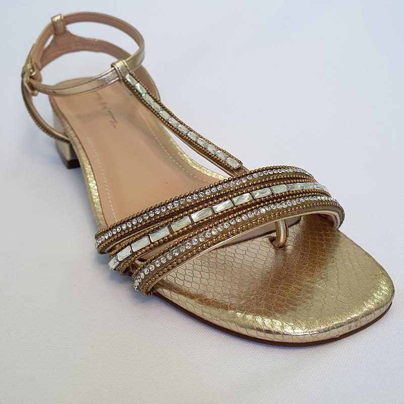 Sandália Salto Baixo Tabita Com Bordado Em Vidrilhos