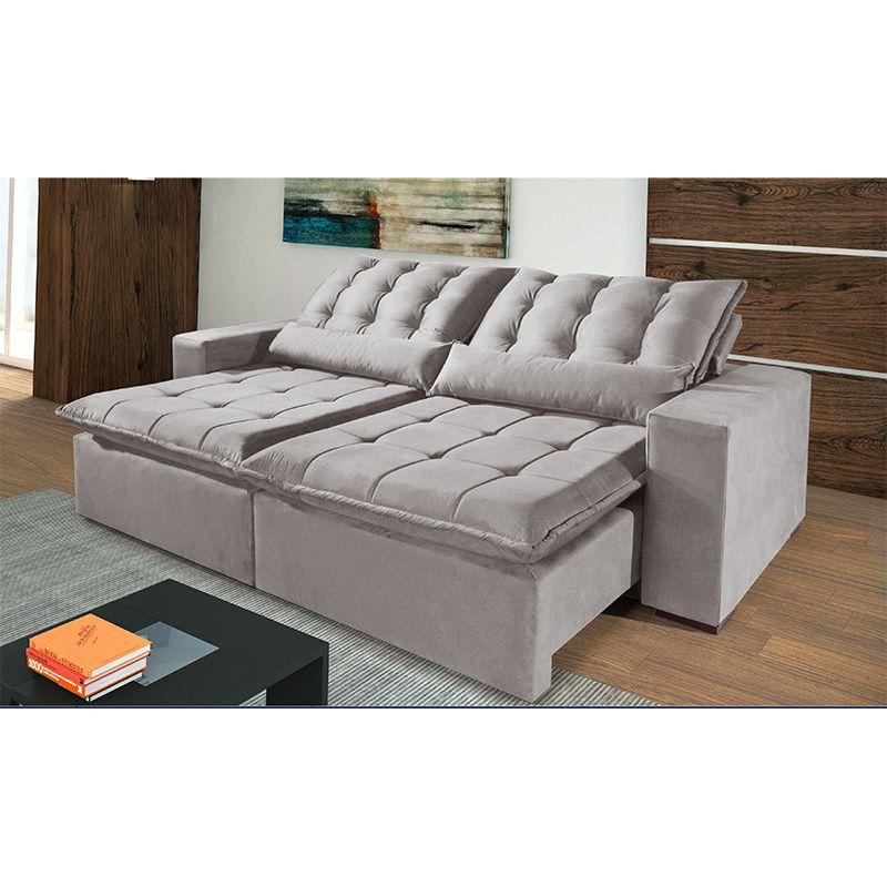 Sofá Reclinável e Retrátil com Almofadas Pirulito 250 cm 6002 Lufer