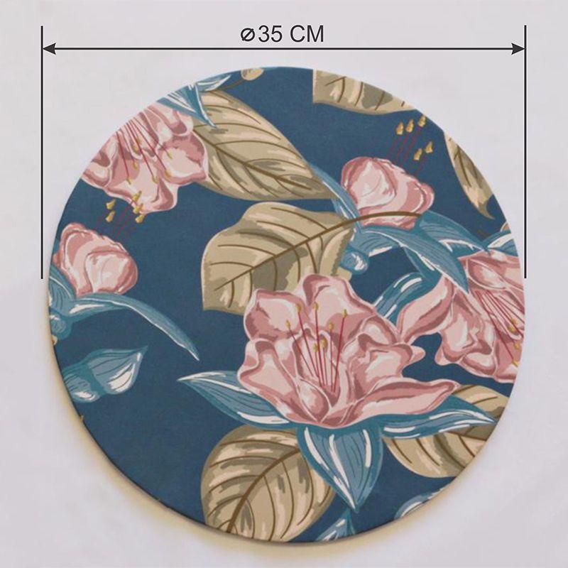 Sousplat Base e Capa em Tecido Azul Flores