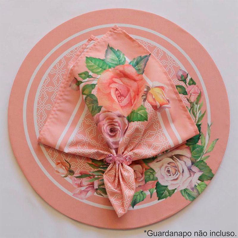 Sousplat Base e Capa em Tecido Rosas